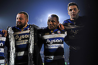 Semesa Rokoduguni of Bath Rugby looks on in a post-match huddle. Aviva Premiership match, between Bath Rugby and Northampton Saints on February 10, 2017 at the Recreation Ground in Bath, England. Photo by: Patrick Khachfe / Onside Images