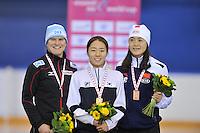 SCHAATSEN: CALGARY: Olympic Oval, 09-11-2013, Essent ISU World Cup, podium 500m, Jenny Wolf (GER), Sang-Hwa Lee (KOR), Beixing Wang (CHN), ©foto Martin de Jong