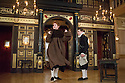 London, UK. 10.04.2014. Shakespeare's Globe presents THE MALCONTENT, in the Sam Wanamaker Playhouse, with the Globe Young Players, directed by Caitlin McLeod. Picture shows: Joseph Marshall (Malevole) and Guy Amos (Mendoza). Photograph © Jane Hobson.