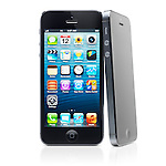 Two iPhone 5 Apple smartphones black with desktop icons on its display isolated on white background