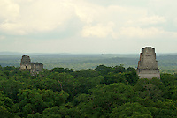 Temple I and Temple II from the top of Temple IV, Maya ruins of Tikal, El Peten, Guatemala. Tikal is a UNESCO World Heritage Site....