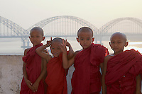 Novice Monks at a Pagoda on the Ayeyarwaddy river bank near Sagaing,Mandalay Myanmar/Burma
