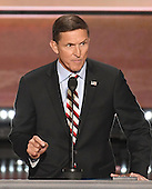 United States Army Lieutenant General Michael T. Flynn, retired, former director, Defense Intelligence Agency makes remarks at the 2016 Republican National Convention held at the Quicken Loans Arena in Cleveland, Ohio on Monday, July 18, 2016.<br />