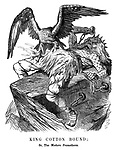 King Cotton Bound; Or, The Modern Prometheus. (The American Eagle starts to pluck a chained King Cotton, bound by a Blockade)