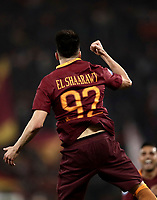 Calcio, Serie A: Roma, stadio Olimpico, 14 maggio 2017.<br /> AS Roma's Stephan El Shaarawy celebrates after scoring during the Italian Serie A football match between AS Roma and Juventus at Rome's Olympic stadium, May 14, 2017.<br /> UPDATE IMAGES PRESS/Isabella Bonotto