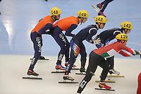 "SHORT TRACK: MOSCOW: Speed Skating Centre ""Krylatskoe"", 15-03-2015, ISU World Short Track Speed Skating Championships 2015, Relay Men, Sjinkie KNEGT (#148   NED), Mark Prinsen (#149   NED), ©photo Martin de Jong"
