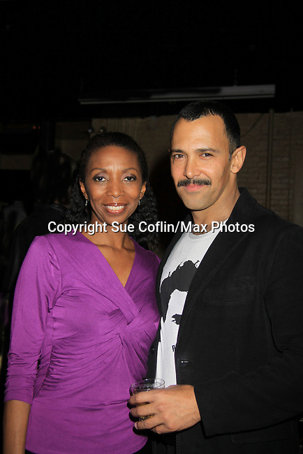 """Castmate Sharon Washington and Sebastian La Cause at a private screening of Sebastian La Cause's web series """"Hustling"""" Season Two - 'cause everybody got a hustle -  was held on November 19, 2012 at TriBeca's Cinemas, New York City, New York. Days of our Lives """"Silvio"""", One Live To Live and All My Children's Sebastian is the creator of Hustling along with being the writer, director and star (Photo by Sue Coflin/Max Photos)"""