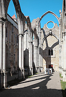 Nave of the Convento da Ordem do Carmo or Carmo Convent, a Carmelite convent founded 1389 and destroyed in the 1755 earthquake, with its Gothic arches exposed, Chiado, Lisbon, Portugal. The adjoining Carmo Church houses an archaeological museum. Picture by Manuel Cohen