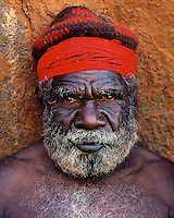 Traditional Aboriginal tribal Elder from the Uluru clan at Ayers Rock, Central Australia, Northern Territory,