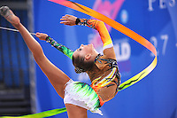 Melitina Staniouta of Belarus performs with ribbon at 2010 Pesaro World Cup on August 28, 2010 at Pesaro, Italy.  Photo by Tom Theobald.