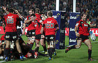 Crusaders' Adam Whitelock clears the ball as the final whistle is blown giving victory over the Chiefs in a Super Rugby match, Waikato Stadium, Hamilton, New Zealand, Friday, July 06, 2012.  Credit:SNPA / David Rowland