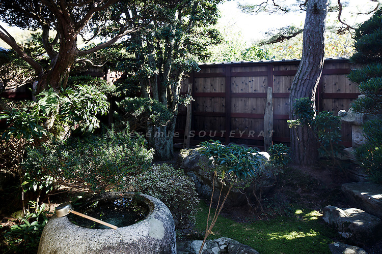 Hino, Shiga prefecture, October 6 2013 - A Japanese garden of the 150-year-old traditional house renovated by Mr Austin Moore and his wife.