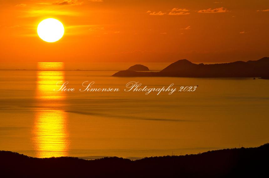 Earth Day 2011.Sunrise overlooking the British Virgin Islands from .St. John in the U.S. Virgin Islands