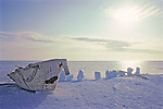 Inpiut Whaling Skin Boat On Arctic Ocean