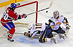 20 December 2008: Buffalo Sabres' goaltender Ryan Miller watches the puck go into the net in overtime against the Montreal Canadiens at the Bell Centre in Montreal, Quebec, Canada. After review, the goal was disallowed as the posts had left their moorings. With both teams coming off wins, the Canadiens extended their winning streak by defeating the Sabres 4-3 in overtime. ***** Editorial Sales Only ***** Mandatory Photo Credit: Ed Wolfstein Photo