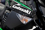A Kawasaki motorcycle is see during the International motorcycle show in New York, United States. 18/12/2013. Photo by Kena Betancur/VIEWpress.