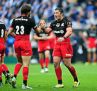 Brad Barritt of Saracens celebrates a late penalty. European Rugby Champions Cup Final, between Saracens and Racing 92 on May 14, 2016 at the Grand Stade de Lyon in Lyon, France. Photo by: Patrick Khachfe / Onside Images
