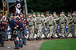 St Johnstone v Kilmarnock...07.11.15  SPFL  McDiarmid Park, Perth<br /> A Remembrance Service was held before kick off.... Soldiers from 7 Scots parade around McDiarmid Park led by the Perth &amp; District Pipe Band.<br /> Picture by Graeme Hart.<br /> Copyright Perthshire Picture Agency<br /> Tel: 01738 623350  Mobile: 07990 594431