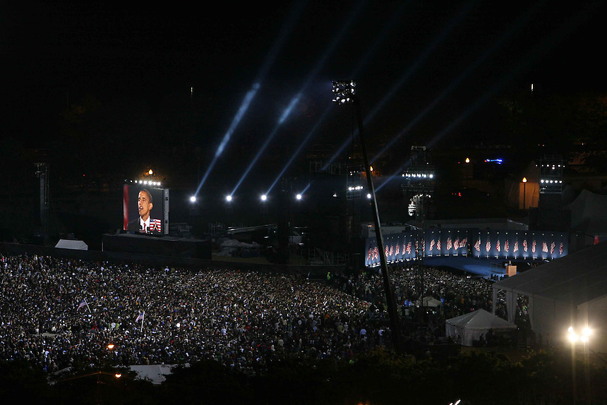 Election night, Nov. 4, 2008. View from 12th floor of the Hilton Hotel..