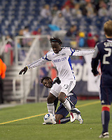 New England Revolution midfielder Kenny Mansally (7) disrupts Kansas City Wizards midfielder Kei Kamara (23). The New England Revolution defeated Kansas City Wizards, 1-0, at Gillette Stadium on October 16, 2010.