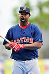 11 March 2010: Boston Red Sox infielder Yamaico Navarro awaits his turn in the batting cage prior to a Spring Training game against the New York Mets at Tradition Field in Port St. Lucie, Florida. The Red Sox defeated the Mets 8-2 in Grapefruit League action. Mandatory Credit: Ed Wolfstein Photo