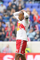 Thierry Henry (14) of the New York Red Bulls reacts to a missed scoring opportunity. The New York Red Bulls defeated the Colorado Rapids 4-1 during a Major League Soccer (MLS) match at Red Bull Arena in Harrison, NJ, on March 25, 2012.