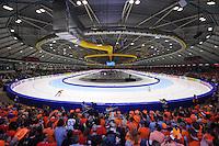 SCHAATSEN: HEERENVEEN: Thialf, Essent ISU World Single Distances Championships 2012, 23-03-2012, Oranje Schaatspubliek, Overzicht Thialf, Bob de Jong (NED), Alexis Contin (FRA), ©foto Martin de Jong