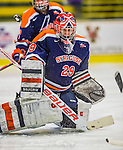 4 January 2014:  Syracuse University Orange goaltender Jenesica Drinkwater, a Senior from Brantford, Ontario, in action against the University of Vermont Catamounts, in non-conference play at Gutterson Fieldhouse in Burlington, Vermont. The Orange defeated the UVM Lady Cats 4-3 in their first ever NCAA meeting. Mandatory Credit: Ed Wolfstein Photo *** RAW (NEF) Image File Available ***