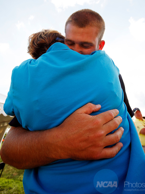 31 MAY 2008:  UCLA's Kevin Chappell, right, gets a hug from his mother Debbie Chappell after  the Division I Men's Golf Championship held at the Birck Boilermaker Golf Complex, Kampen Course in West Lafayette, IN. Chappell finished in first place with a four-day score of 286, his team also won first place.  AJ Mast/NCAA Photos.