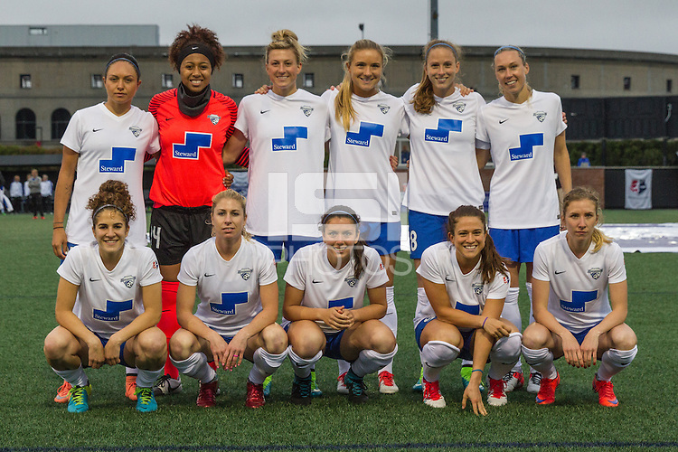Alston, Massachusetts - May 7, 2016:  The Chicago Red Stars (black and blue)  beat the Boston Breakers  (white and blue) 1-0 in a National Womens Soccer League (MWSL) match at Jordan Field.