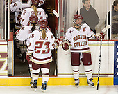 Megan Shea (BC - 23), Kelli Stack (BC - 16) - The Boston College Eagles defeated the visiting Harvard University Crimson 6-2 on Sunday, December 5, 2010, at Conte Forum in Chestnut Hill, Massachusetts.