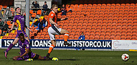 Blackpool's Brad Potts gets a shot away despite the attentions of Cheltenham Town's Liam Davis<br /> <br /> Photographer Alex Dodd/CameraSport<br /> <br /> The EFL Sky Bet League Two - Blackpool v Cheltenham Town - Saturday 22nd April 2017 - Bloomfield Road - Blackpool<br /> <br /> World Copyright &copy; 2017 CameraSport. All rights reserved. 43 Linden Ave. Countesthorpe. Leicester. England. LE8 5PG - Tel: +44 (0) 116 277 4147 - admin@camerasport.com - www.camerasport.com