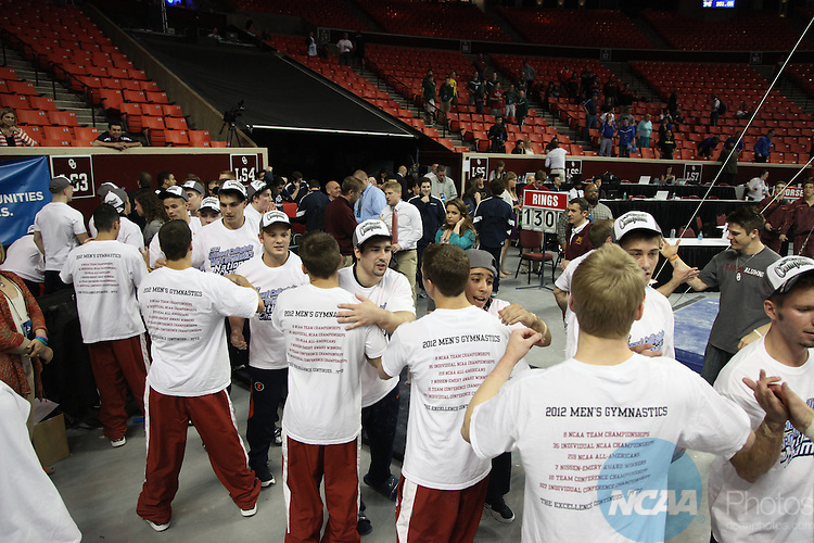 20 APR 2012: The Division I Men's Gymnastics Championship held at the Lloyd Noble Center on the University of Oklahoma campus in Norman, OK.  Stephen Pingry/NCAA Photos