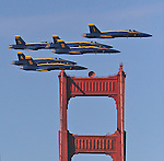 The Navy Blue Angels fly over San Francisco, CA.