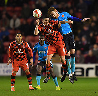 Fleetwood Town's Cian Bolger out jumps Walsall's George Dobson<br /> <br /> Photographer Dave Howarth/CameraSport<br /> <br /> The EFL Sky Bet League One - Walsall v Fleetwood Town - Tuesday 14th March 2017 - Banks's Stadium - Walsall<br /> <br /> World Copyright &copy; 2017 CameraSport. All rights reserved. 43 Linden Ave. Countesthorpe. Leicester. England. LE8 5PG - Tel: +44 (0) 116 277 4147 - admin@camerasport.com - www.camerasport.com