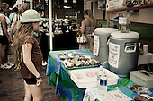 Girl being tempted by cakes at the Farmers market in Charleston, South Carolina, USA