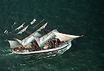Aerial view: Sailing ship Picton Castle under way during Operation Sail between Lynhaven & Ft Monroe Hampton Roads, Virginia. Chesapeake Bay Region. June 16  2000 NO MODEL OR PROPERTY RELEASE.