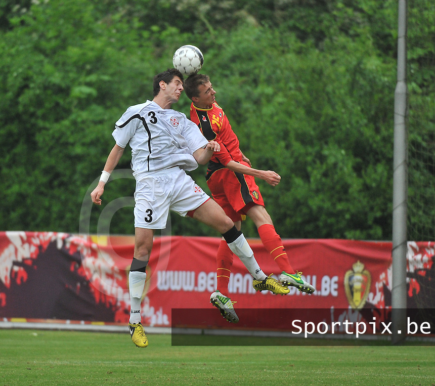 Georgia U19 - Belgium U19 : duel between Lasha Dvali (3) and Timoty Castagne (15)<br /> foto DAVID CATRY / Nikonpro.be