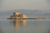 NAFPLION, GREECE - APRIL 135: A general view of Bourtzi Castle, on April 15 2007, in Nafplion, Greece. Bourtzi Castle, seen here in the early morning light, was completed by the Venetians in 1473 and served as a fortress during the long struggles between Greece and Turkey.  The castle later became the executioner's house from 1865 until 1930. The city of Nafplion was the first capital of modern Greece from 1829-1834. (Photo by Manuel Cohen)