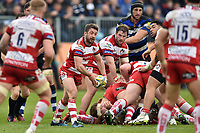 Greig Laidlaw of Gloucester Rugby passes the ball. Aviva Premiership match, between Bath Rugby and Gloucester Rugby on April 30, 2017 at the Recreation Ground in Bath, England. Photo by: Patrick Khachfe / Onside Images