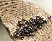 Stock photo of coffee beans and burlap