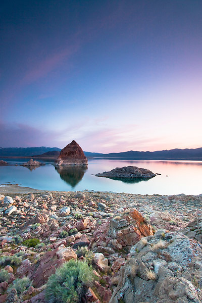 Sunset at Pyramid lake