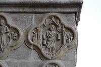 Libra, detail of the signs of the Zodiac, Saint Firmin's portal, Amiens Cathedral, 13th century, Amiens, Somme, Picardie, France. Picture by Manuel Cohen