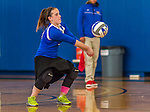 18 October 2015: Yeshiva University Maccabee Libero and Defensive Specialist Dalia Sieger, a Sophomore from Los Angeles, CA, bumps during game action against the College of Mount Saint Vincent Dolphins at the Peter Sharp Center, in Riverdale, NY. The Dolphins defeated the Maccabees 3-0 in the NCAA Division III Women's Volleyball Skyline matchup. Mandatory Credit: Ed Wolfstein Photo *** RAW (NEF) Image File Available ***