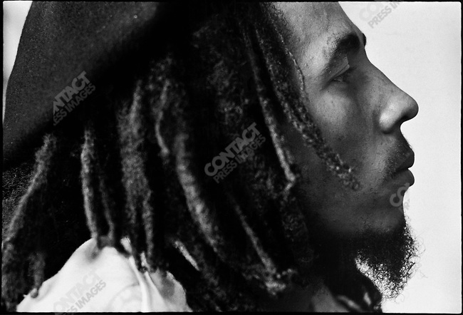 Bob Marley, the famed reggae performer, at Tuff Gong, his home and recording studio compound. Kingston, Jamaica, March 1976