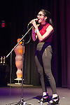 Bellmore, New York, USA. 16th July 2015. JACQUELINE XERRI, a student filmmaker, sings at the LIIFE Awards Ceremony at Bellmore Movies. It was the 18th Long Island International Film Expo.