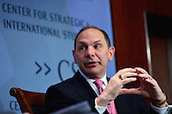 Washington, DC - May 4, 2016: Robert McDonald, Secretary of Veterans Affairs, discusses health policy and the health challenges facing U.S. veterans during a discussion at the Center for Strategic and International Affairs in the District of Columbia, May 4, 2016.  (Photo by Don Baxter/Media Images International)