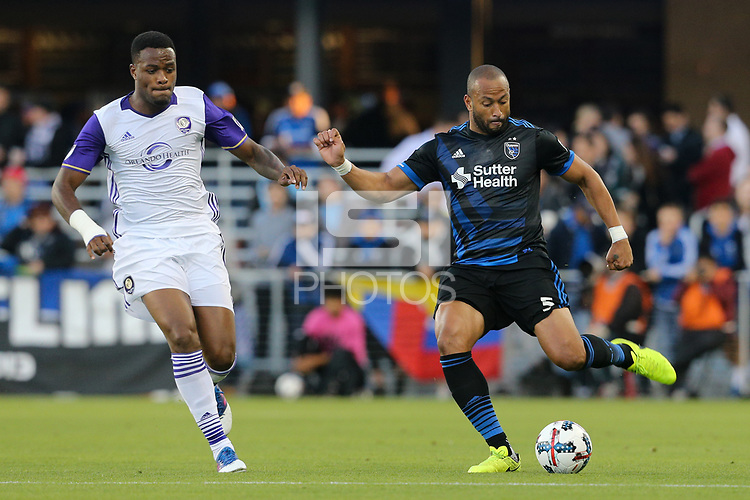 San Jose, CA - Wednesday May 17, 2017: Victor Bernardez during a Major League Soccer (MLS) match between the San Jose Earthquakes and Orlando City SC at Avaya Stadium.