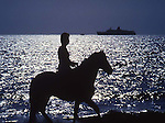 Man on Horseback on the water, silhouette
