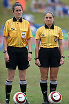 Referee Rachel Woo (l) with Fourth Official Sandra Serafini on Sunday June 26th, 2005, during an international friendly soccer match at Virginia Beach Sportsplex in Virginia Beach, Virginia. The United States won the game 2-0.